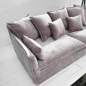 Großes 3er Sofa HEAVEN 210cm taupe Samt abnehmbarer Bezug Hussensofa