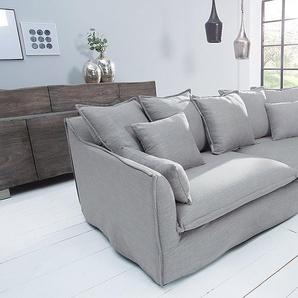 Großes 3er Sofa HEAVEN 215cm grau Leinenstoff abnehmbarer Bezug Hussensofa