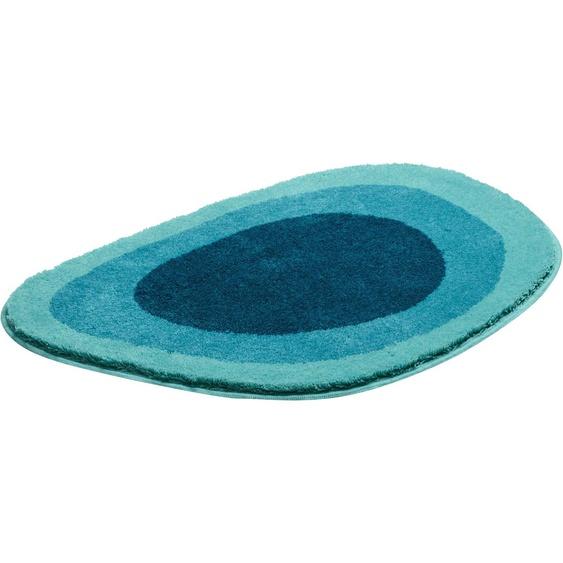 Grund Badematte Lake, Höhe 24 mm, rutschhemmend beschichtet, fußbodenheizungsgeeignet oval (70 cm x 105 cm), 1 St. blau Gemusterte Badematten