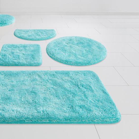 GRUND exklusiv Badematte Melos, Höhe 27 mm, rutschhemmend beschichtet rechteckig (50 cm x 90 cm), 1 St. blau Einfarbige Badematten