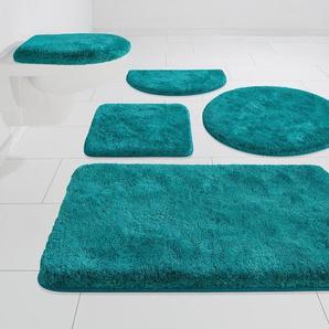 GRUND exklusiv Badematte Melos, Höhe 27 mm, rutschhemmend beschichtet 3-tlg. Stand-WC Set, 3 St., Kunstfaser grün Einfarbige Badematten