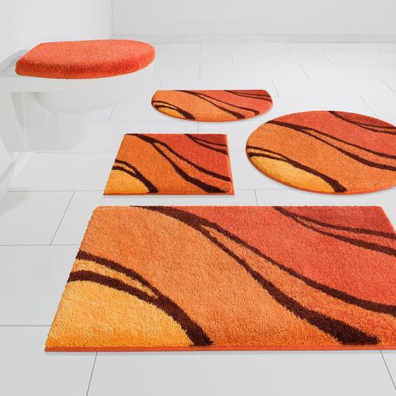 GRUND exklusiv Badematte Reno, Höhe 20 mm, rutschhemmend beschichtet, fußbodenheizungsgeeignet rechteckig (55 cm x 50 cm), 1 St. orange Gemusterte Badematten