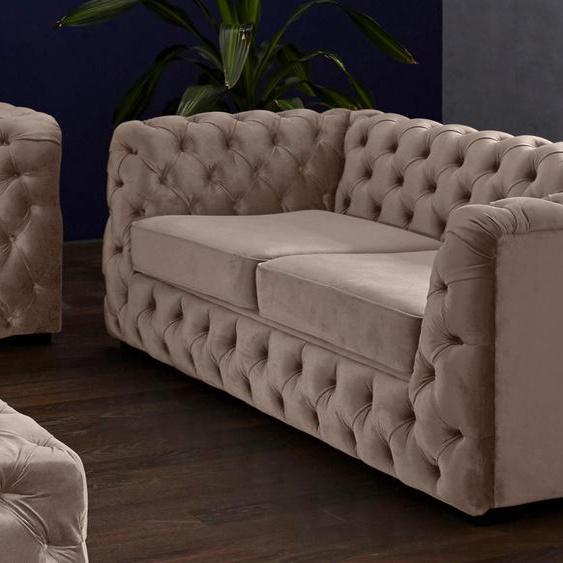 Guido Maria Kretschmer Home&Living 2-Sitzer Kalina Samtvelours, 190 cm braun Chesterfieldsofas Einzelsofas Sofas Couches