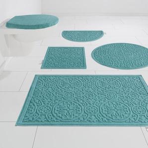 Guido Maria Kretschmer Home&Living Badematte Garden Pastels, Höhe 3 mm, fußbodenheizungsgeeignet, Pastell quadratisch (45 cm x 45 cm), 1 St. blau Gemusterte Badematten