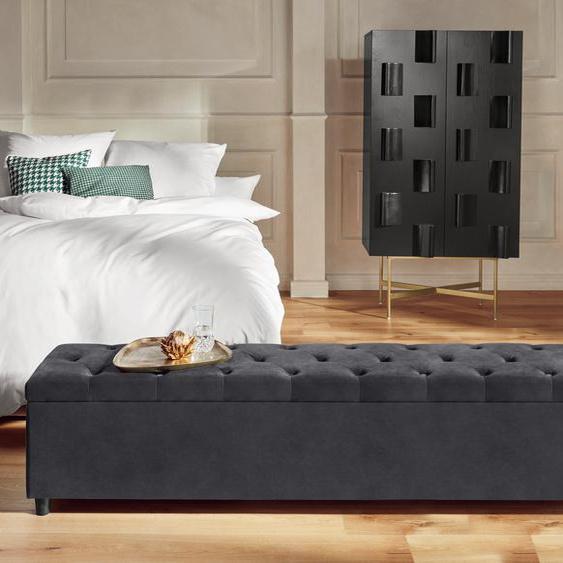 Guido Maria Kretschmer Home&Living Bettbank Relaxy, gesteppt, mit Staufach Luxus-Microfaser, 180cm grau Bettbänke Sitzbänke Stühle