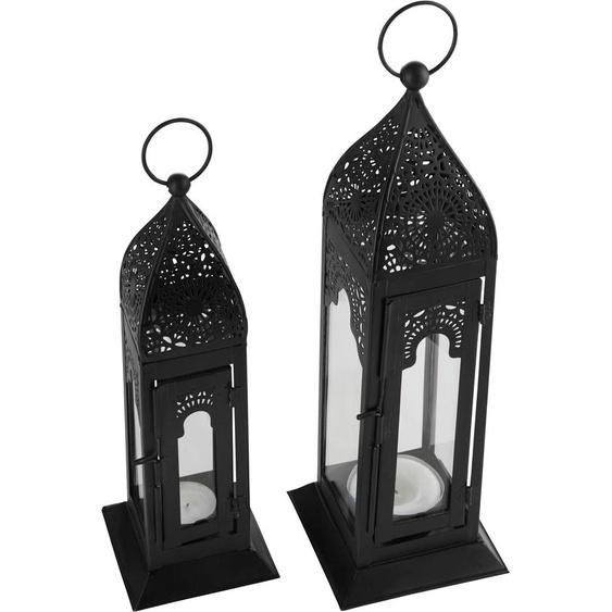 Guido Maria Kretschmer Home&Living Laterne, handgefertigt 9 / 11x9 11x25 34 cm schwarz Kerzenhalter Kerzen Laternen Wohnaccessoires