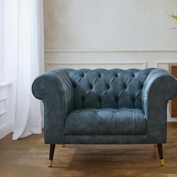 Guido Maria Kretschmer Home&Living Loveseat Tinnum Luxus-Microfaser, B/H/T: 121 cm x 77 87 grün Chesterfield Sessel