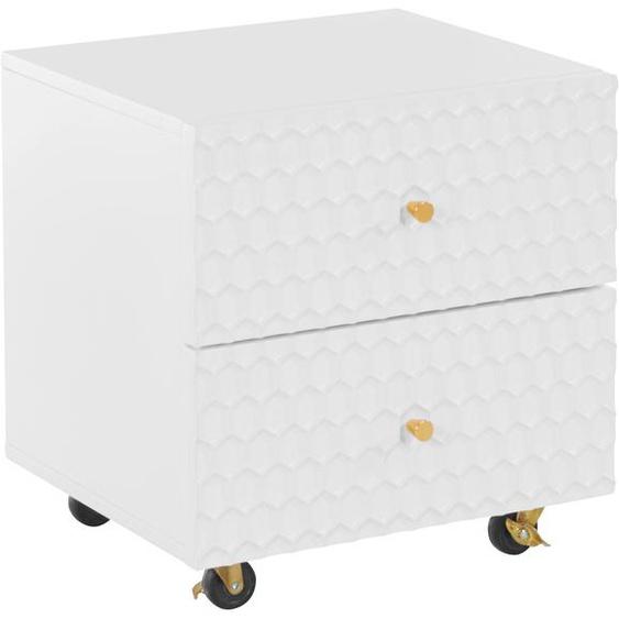 Guido Maria Kretschmer Home&Living Nachttisch Easily Tischplatte: MDF, 45x40 cm weiß Nachtschränke Nachttische Tische Tisch