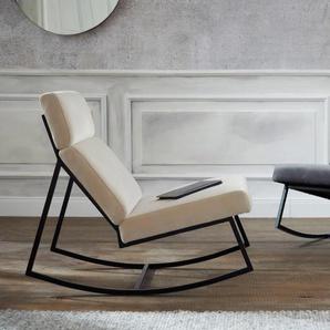 Guido Maria Kretschmer Home&Living Schaukelstuhl Soel, mit modernen Metallgestell und weichem Samtvelours Bezug Samtoptik beige Schaukelstühle Stühle Sitzbänke