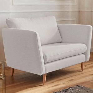 Guido Maria Kretschmer Home&Living Sessel Cergy, in skandinavischem Stil mit Beinen aus Eiche Struktur fein, B/H/T: 129 cm x 87 94 beige Hocker Möbel sofort lieferbar