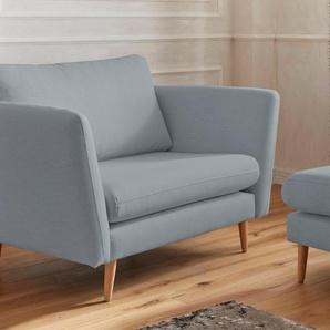 Guido Maria Kretschmer Home&Living Sessel Cergy, in skandinavischem Stil mit Beinen aus Eiche Struktur fein, B/H/T: 129 cm x 87 94 blau Hocker Möbel sofort lieferbar
