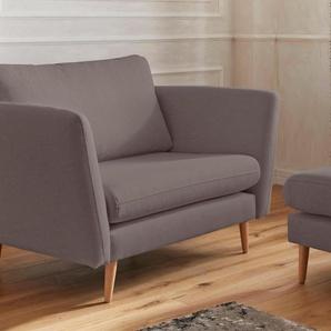 Guido Maria Kretschmer Home&Living Sessel Cergy, in skandinavischem Stil mit Beinen aus Eiche Struktur fein, B/H/T: 129 cm x 87 94 grau Hocker Möbel sofort lieferbar