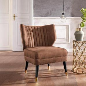 Guido Maria Kretschmer Home&Living Sessel »Clermont«, mit schönem Bezug aus Luxus-Microfaser in Wildlederoptik und goldfarbenen Fußabsatz