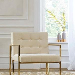 Guido Maria Kretschmer Home&Living Sessel »Silwai«, mit schönem Metallgestell und Samtpolsterung, Sitzhöhe 44 cm