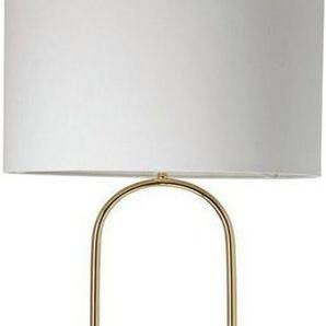 Guido Maria Kretschmer Home&Living Stehlampe »ZERIA«, 1-flammig, Stehlampe im Materialmix - Textil und Metall, Fuß in Marmoroptik, weißer Stoffschirm, Schnurzwischenschalter