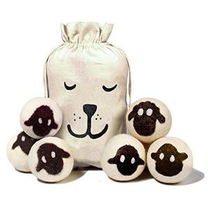 GWELL 6er Pack Trocknerball für Wäschetrockner aus 100% natürlicher Schafswolle Bälle Trocknerkugeln der natürliche Weichspüler weiß
