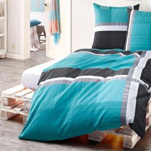 H.I.S Bettwäsche Linus, mit feinem Linienmuster B/L: 155 cm x 220 (1 St.), 80 Biber grün 135x200 nach Größe Bettwäsche, Bettlaken und Betttücher