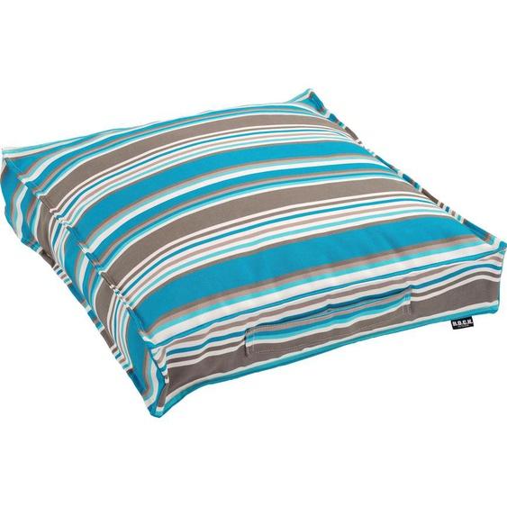 H.O.C.K. Sitzkissen Yucatan, mit bunten Streifen 1x 50x50 cm, Kunstfaser, 10 cm blau Stuhlkissen Kissen Kopfkissen