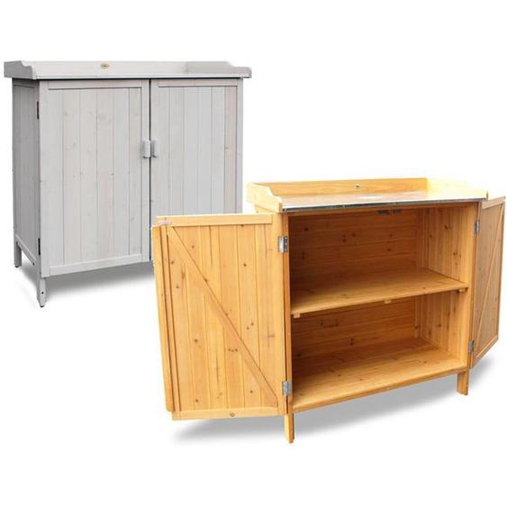 HABAU Gartentisch mit Unterschrank, verzinkte Arbeitsfläche, 98 x 48 x 95 cm, Kiefer