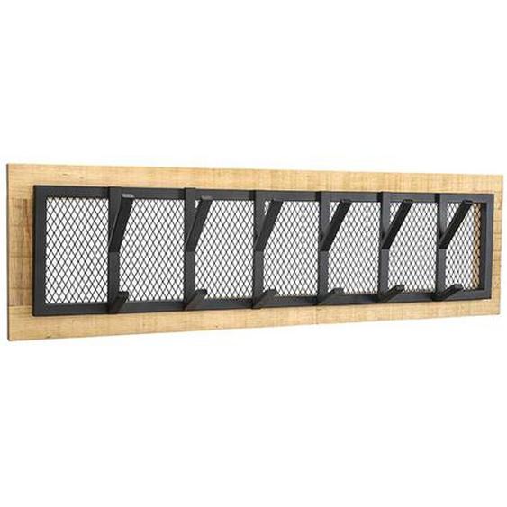 Hängegarderobe aus Massivholz und Metall 6 Kleiderhaken