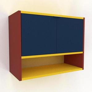 Hängeschrank Blau - Moderner Wandschrank: Türen in Blau - 77 x 61 x 35 cm, konfigurierbar