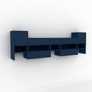 Hängeschrank Blau - Wandschrank: Schubladen in Blau & Türen in Blau - 267 x 80 x 35 cm, konfigurierbar