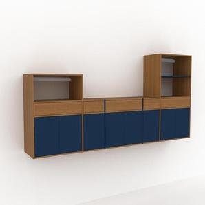 Hängeschrank Blau - Wandschrank: Schubladen in Eiche & Türen in Blau - 303 x 157 x 47 cm, konfigurierbar