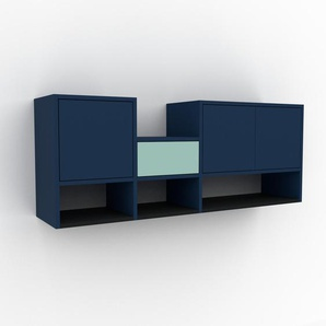 Hängeschrank Blau - Wandschrank: Schubladen in Mint & Türen in Blau - 154 x 61 x 35 cm, konfigurierbar