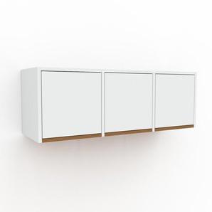 Hängeschrank Weiß - Moderner Wandschrank: Türen in Weiß - 118 x 41 x 35 cm, konfigurierbar