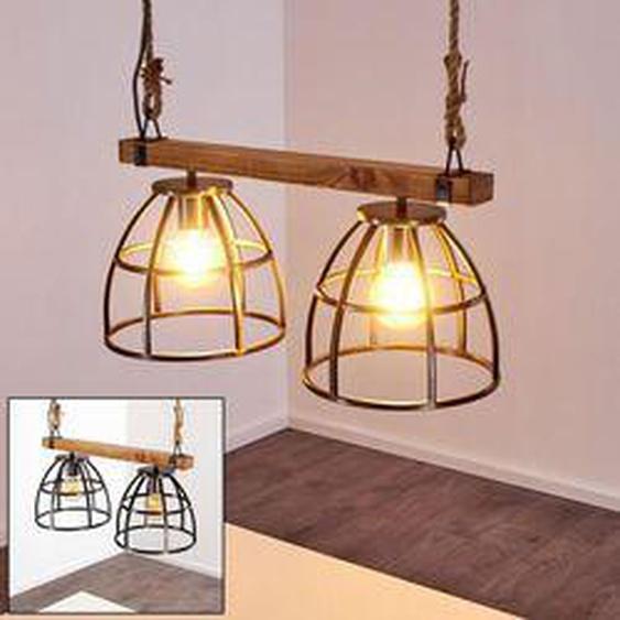 Haervej Pendelleuchte Schwarz, Holz hell, 2-flammig - Vintage - Innenbereich - versandfertig innerhalb von 2-4 Werktagen