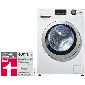 Haier Waschvollautomat  HW80-BP14636 ¦ weiß ¦ Kunststoff, Glas , Metall-lackiert ¦ Maße (cm): B: 59,5 H: 85 T: 55 Elektrogeräte  Waschmaschinen » Höffner
