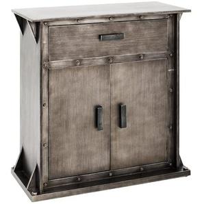 HAKU Möbel Konsole - aus MDF in anthrazitfarben lackiert, mit 1 Schublade und 2 Schranktüren, 35 x 69 x 75 cm