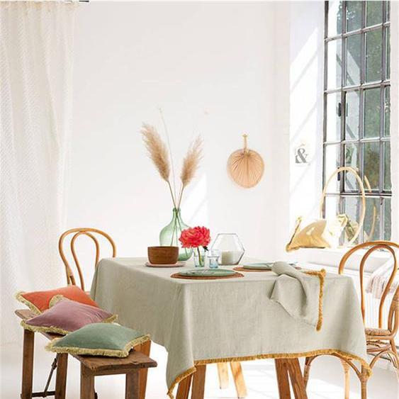 Halbleinentischdecke Fransen - bunt - 55 % Leinen, 45 % Baumwolle - Tischwäsche