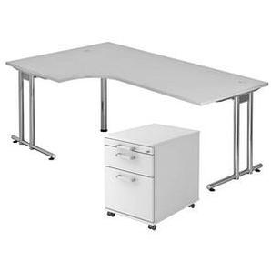 HAMMERBACHER Büromöbel-Set Pedusa grau L-Form