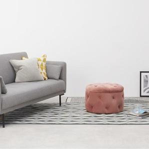 Hampton runder Polsterhocker mit Stauraum (60 cm), Samt in Zartrosa