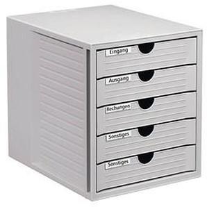 HAN Schubladenbox System-Box lichtgrau DIN C4 mit 5 Schubladen
