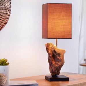 Design Treibholz Lampe HYPNOTIC braun Tischlampe Handarbeit mit echtem Leinenschirm