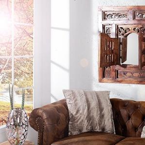 Handgearbeiteter Spiegel SECRET WINDOW 70x60cm Mahagoni mit Schnitzereien
