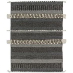 Handgefertigter Teppich Botana aus Wolle in Dunkelgrau/Beige