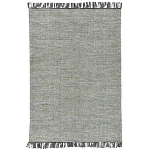 Handgefertigter Kelim-Teppich Cleverland aus Wolle in Grün