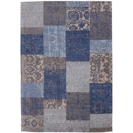 Handgefertigter Kelim-Teppich Dahlstrom aus Wolle in Blau