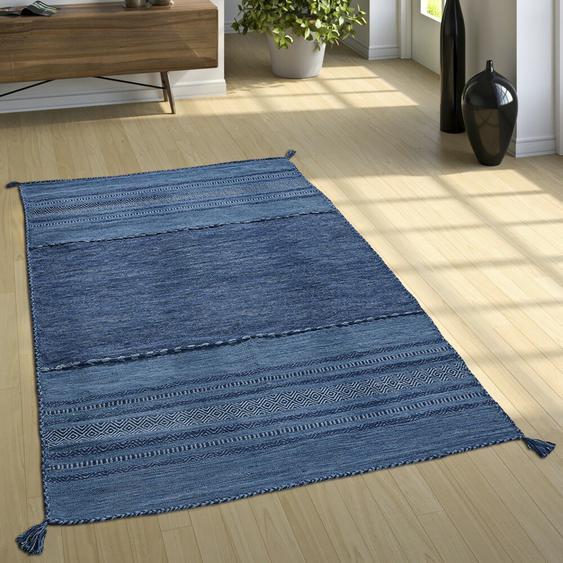 Handgefertigter Kelim-Teppich Eastleigh aus Baumwolle in Blau