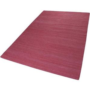 Handgefertigter Kelim-Teppich Rainbow aus Baumwolle in Dunkelrosa
