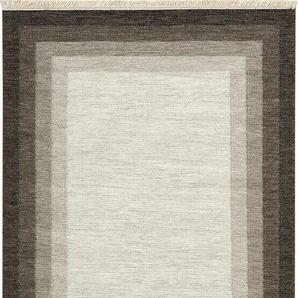 Handgefertigter Kelim-Teppich Shawn aus Wolle in Beige/Braun