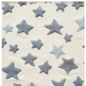 Handgefertigter Kinderteppich Seastar aus Wolle in Grau