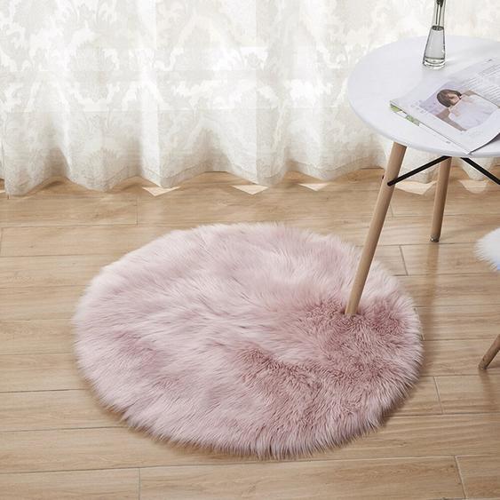 Handgefertigter Shaggy-Teppich Emmanuel aus Schaffell in Rosa