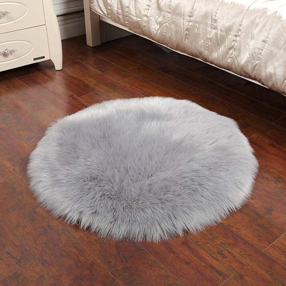 Handgefertigter Shaggy-Teppich Marco aus Schaffell in Grau