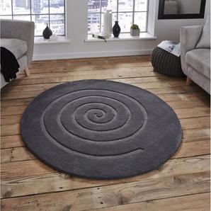 Handgefertigter Teppich Daria Spiral in Grau