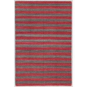 Handgefertigter Teppich aus Wolle/Baumwolle in Rot/Anthrazit