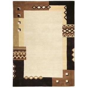 Handgefertigter Teppich Bradbury aus Wolle in Braun